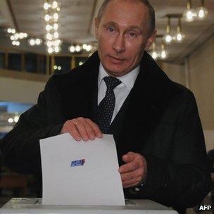 Vladimir Putin voting in Moscow, 4 December