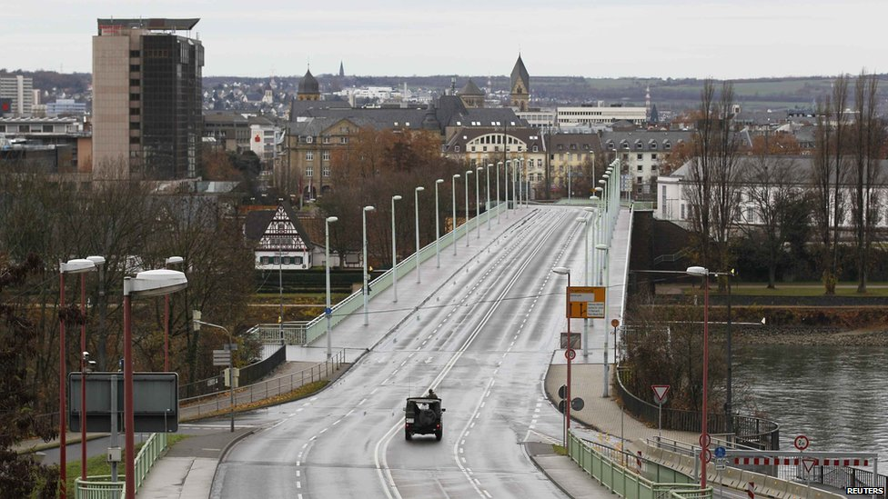 The empty Pfaffendorfer Bridge across the Rhine in Koblenz, Germany, on 4 December 2011