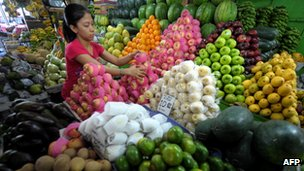 Vegetable shop in Manila where inflation has been hurting consumers spending power