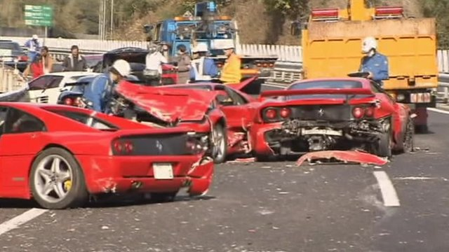 Luxury Sports Cars In Costly Japan Pile Up Bbc News