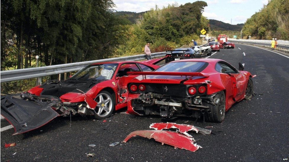 Bbc News In Pictures Sports Cars Pile Up