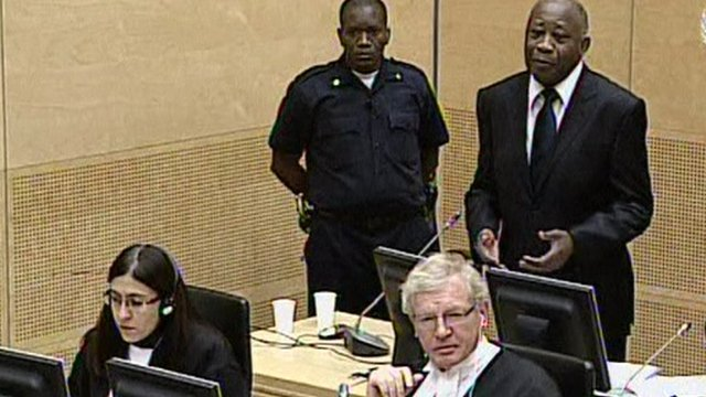Former President of Ivory Coast Laurent Gbagbo appears at the ICC