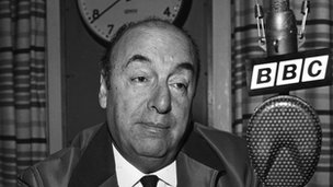 Pablo Neruda on a visit to the BBC Latin American service in 1965