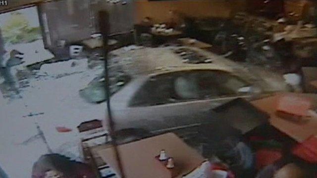 Car in restaurant