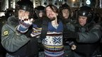 Activist detained during protests in central Moscow on 6 December 2011