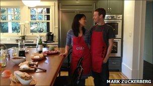 Mark Zuckerberg and girlfriend in kitchen