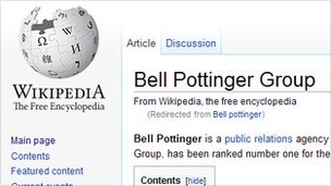 A screenshot from Wikipedia of an article on Bell Pottinger