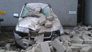 Car crushed by wall in Aberdeen