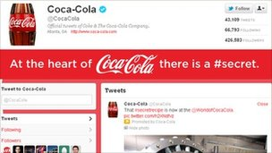 Coca-Cola brand page on the new look Twitter