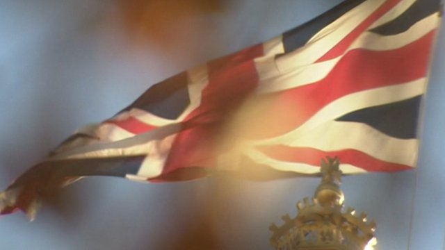 Union Jack flag flying in wind