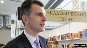 Russian billionaire Mikhail Prokhorov attends the opening ceremony of the 5th Krasnoyarsk Book Fair in the Siberian city in November 2011