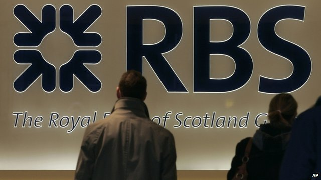 Royal Bank of Scotland logo at their headquarters in London