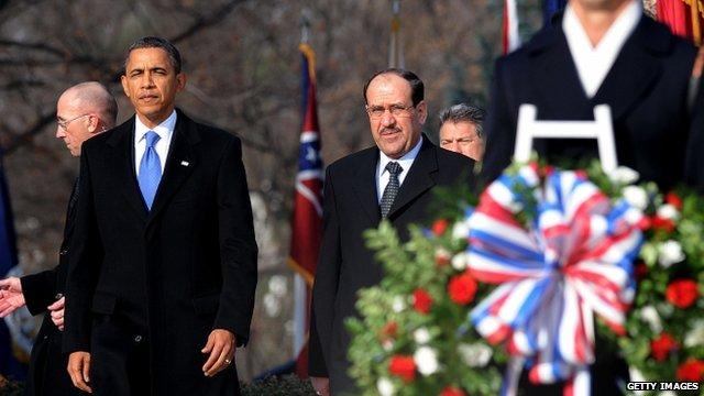 US President Barack Obama (L) and Iraqi Prime Minister Nouri al-Maliki (R)
