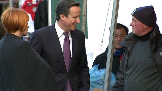 Mary Portas and David Cameron meet market traders