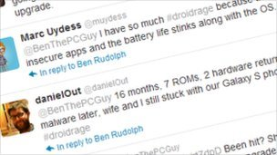 A screenshot from Twitter showing Android complaints