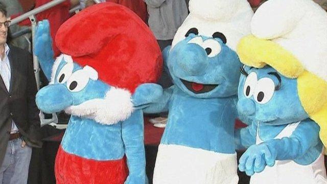 Papa Smurf, Clumsy Smurf and Smurfette