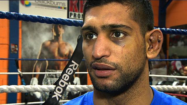 British light-welterweight boxer Amir Khan