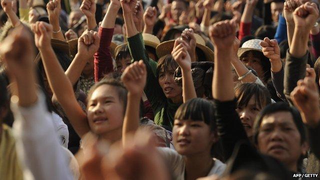 Wukan residents protesting