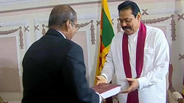 President Mahinda Rajapaksa receives the report