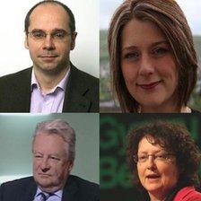 (Gyda'r cloc): Simon Thomas, Leanne Wood, Elin Jones, Yr Arglwydd Elis Thomas