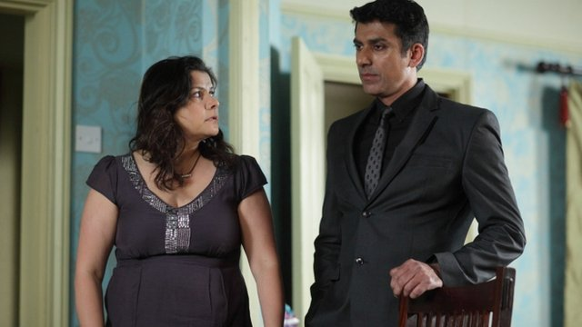 Zainab Masood, played by Nina Wadia with Yusef Khan, played by Ace Bhatti