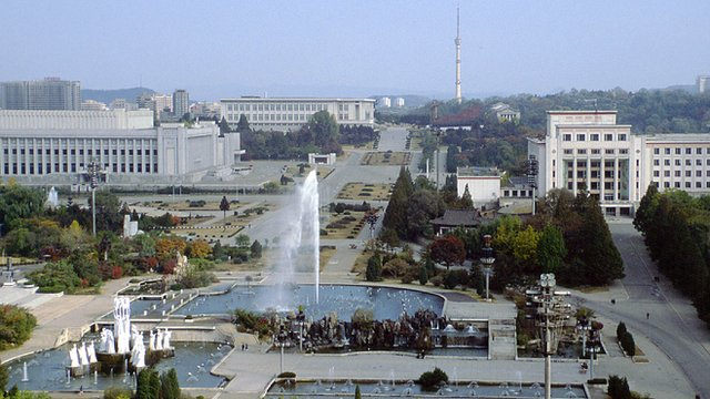 Pyongyang with the Parliament building on the left