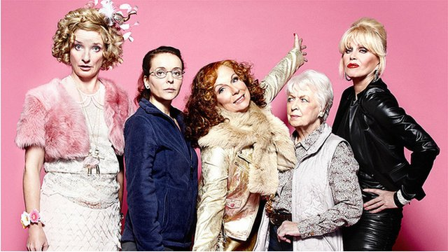 Bubble (Jane Horrocks), Saffy (Julia Sawalha), Edina (Jennifer Saunders), Mother (June Whitfield), Patsy (Joanna Lumley)