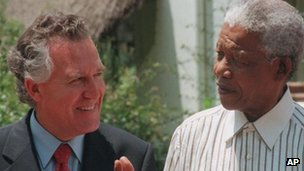 Anti-apartheid campaigner and Neath MP Peter Hain meeting Nelson Mandela in Johannesburg in 2000