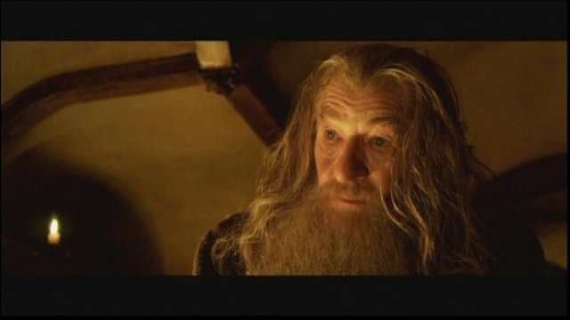 Sir Ian McKellen playing Gandalf