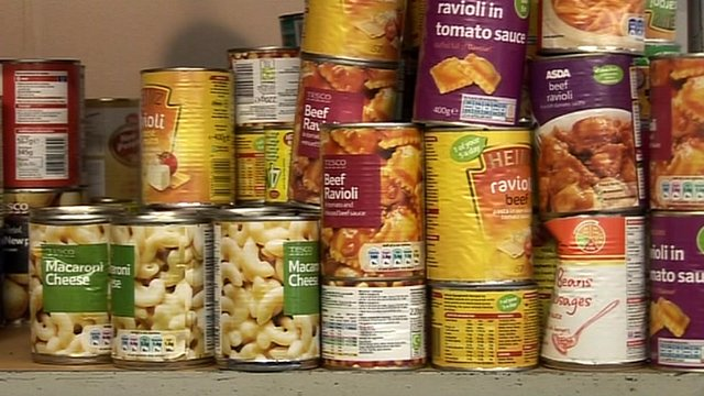 Food cans donated by the Loughborough community
