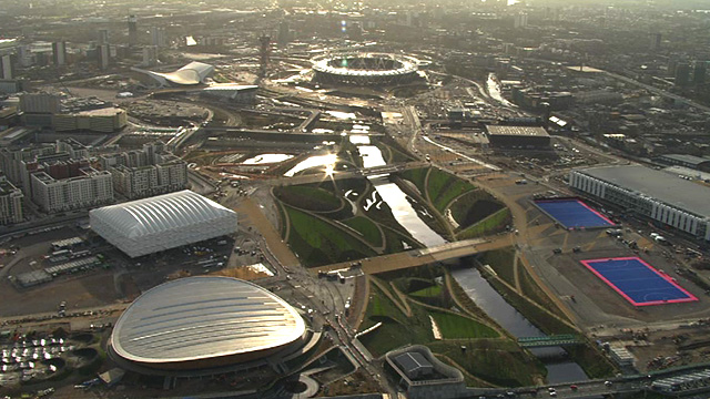 Aerial shots of London 2012 Olympic Park