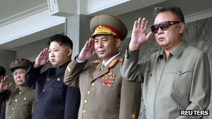 North Korean leader Kim Jong-il (R) and his son Kim Jong-un (3rd R) salute as they watch soldiers attending a military parade in the Kim Il Sung square in Pyongyang