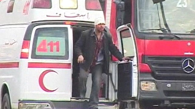 Injured man in ambulance