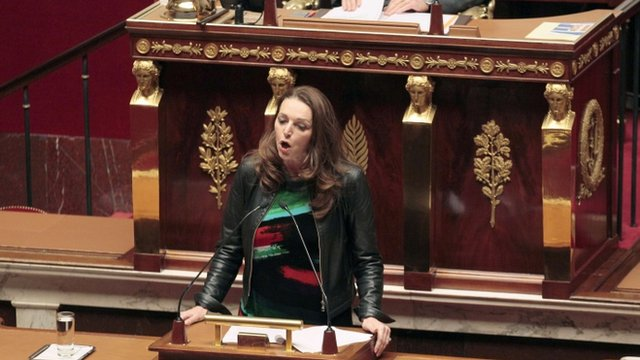 MP Valerie Boyer, who authored Armenian Genocide Denial Bill, delivers a speech at the French National Assembly