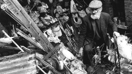 Edmund Trebus in his rubbish-strewn back garden in north London