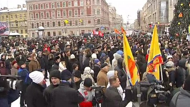 Crowds in Pioneer Square in St Petersburg
