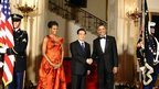 Chinese President Hu Jintao pictured with US President Barack Obama and First Lady Michelle Obama