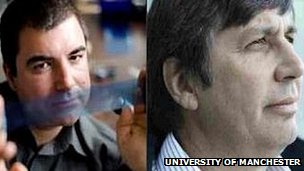 Profs Konstantin Novoselov (left) and Andre Geim (Image: University of Manchester)