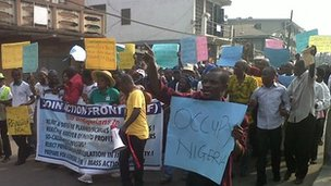Marchers in Lagos - 3 January 2012