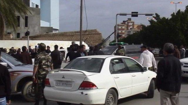 Militiamen on Zawiya Street in Tripoli