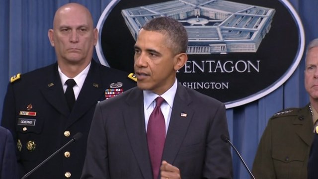 President Obama delivers press conference in Washington.