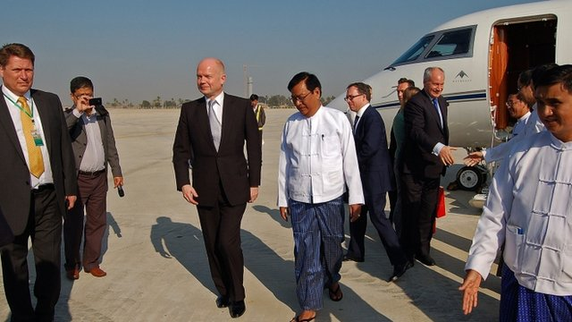 William Hague at Naypyidaw airport