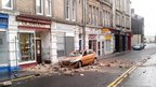 Car damaged by chimney collapse in South Street, Bo'ness