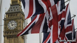 Big Ben, with union jacks in the foreground