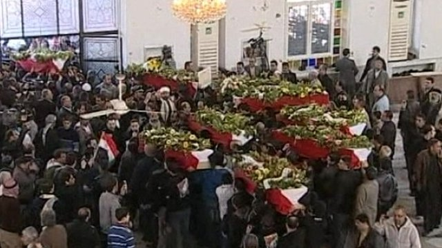 Coffins of bomb attack victims in Damascus