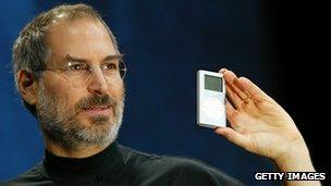 Steve Jobs holding an Apple product