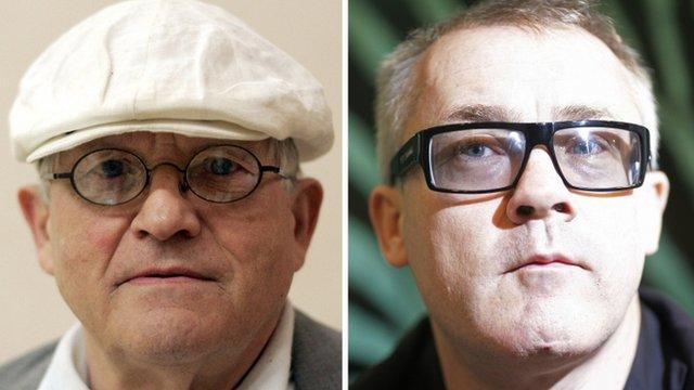 David Hockney (L) and Damien Hirst (R)