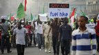 Protesters march through Ikorodu Road in Lagos
