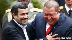 Iranian President Mahmoud Ahmadinejad and his Venezuelan counterpart Hugo Chavez. Photo: 9 January 2011