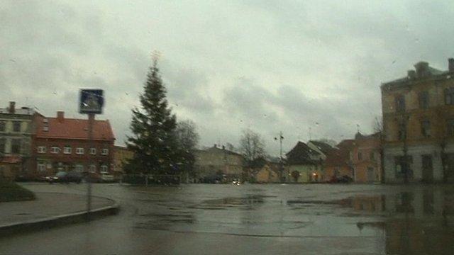 Rain-swept road in Latvia